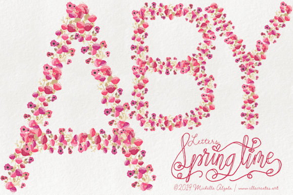 Print on Demand: Springtime 03 Red & Pink Floral Letters Graphic Illustrations By Michelle Alzola
