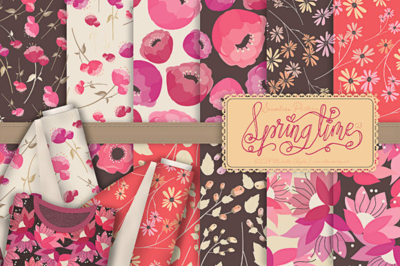 Print on Demand: Springtime 03 Red & Pink Floral Pattern Graphic Illustrations By Michelle Alzola