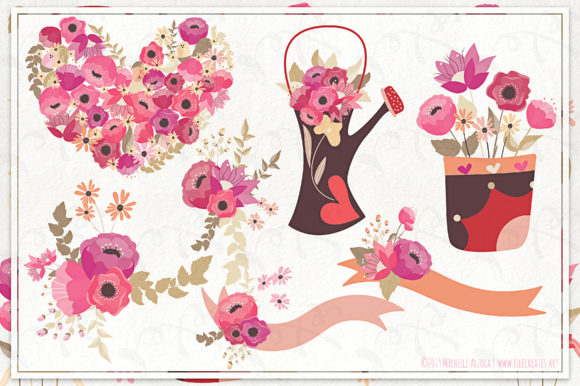 Print on Demand: Springtime 03 Red & Pink Vector Clipart Graphic Illustrations By Michelle Alzola - Image 2