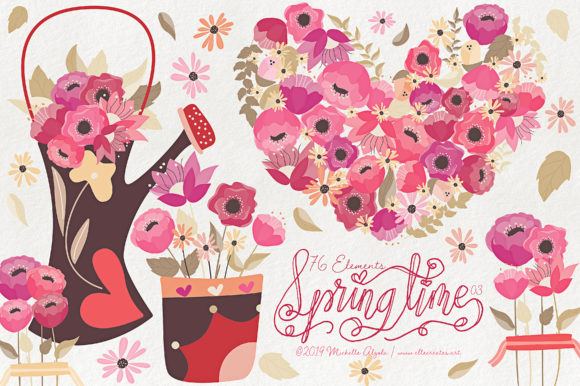 Print on Demand: Springtime 03 Red & Pink Vector Clipart Graphic Illustrations By Michelle Alzola - Image 1