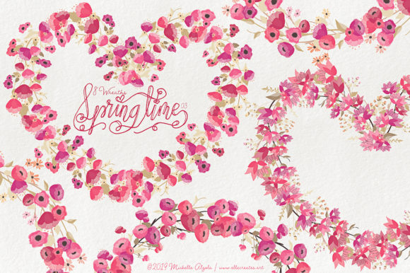 Print on Demand: Springtime 03 - Red and Pink Wreaths Graphic Illustrations By Michelle Alzola