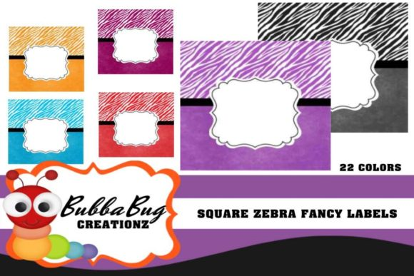 Square Zebra Fancy Labels Graphic Crafts By BUBBABUG