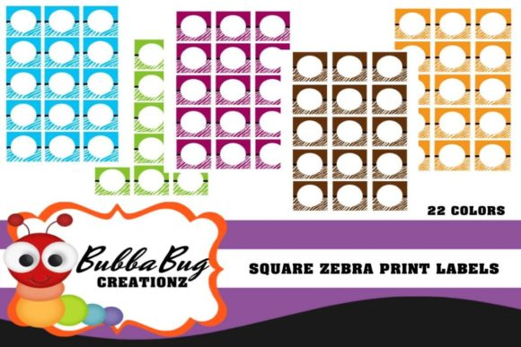 Square Zebra Print Labels Graphic Crafts By BUBBABUG