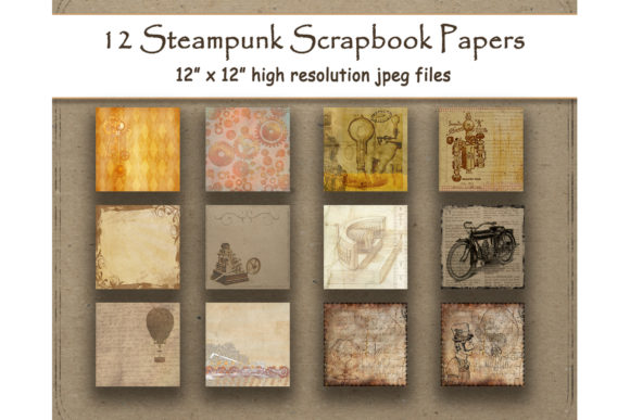 Print on Demand: Steampunk Digital Papers Vintage Antique Graphic Backgrounds By DigitalPrintableMe