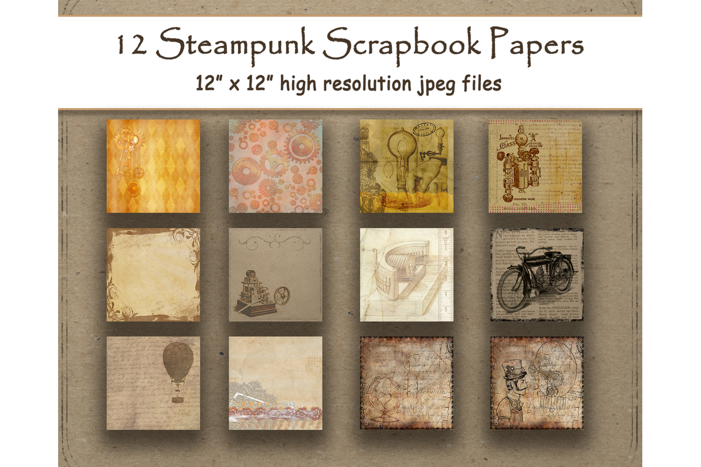 Download Free Steampunk Digital Papers Vintage Antique Graphic By for Cricut Explore, Silhouette and other cutting machines.