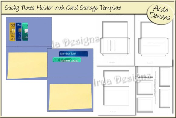 Print on Demand: Sticky Notes Holder CU Template Graphic Print Templates By Arda Designs