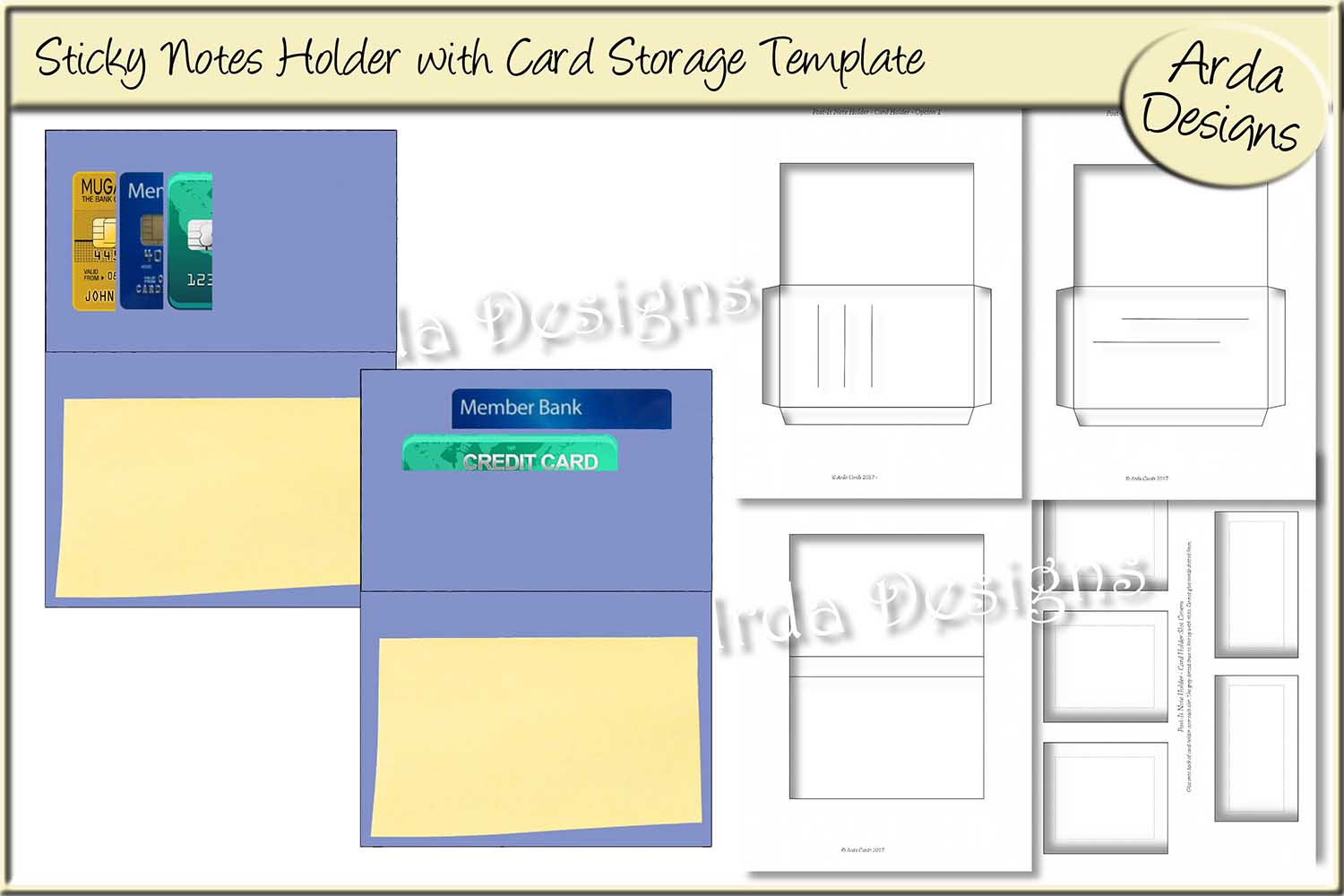 Download Free Sticky Notes Holder Cu Template Grafik Von Arda Designs for Cricut Explore, Silhouette and other cutting machines.