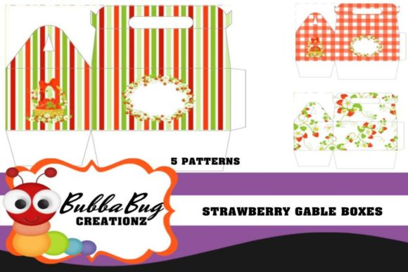Strawberry Gable Boxes Graphic Crafts By BUBBABUG