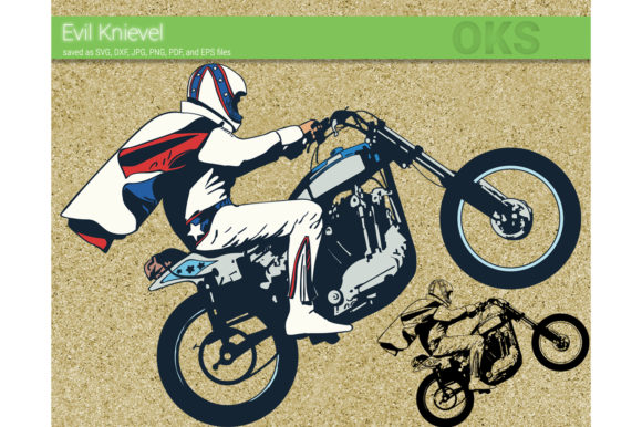 Download Free Stunt Bike Vector Evel Knievel Graphic By Crafteroks Creative for Cricut Explore, Silhouette and other cutting machines.