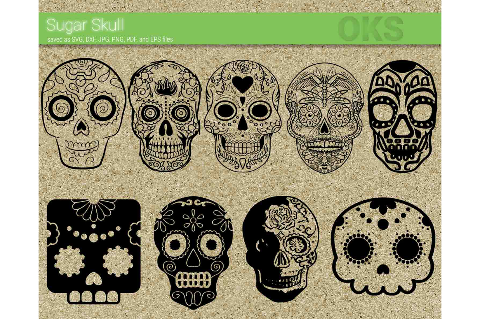Download Free Sugar Skull Vector Graphic By Crafteroks Creative Fabrica for Cricut Explore, Silhouette and other cutting machines.