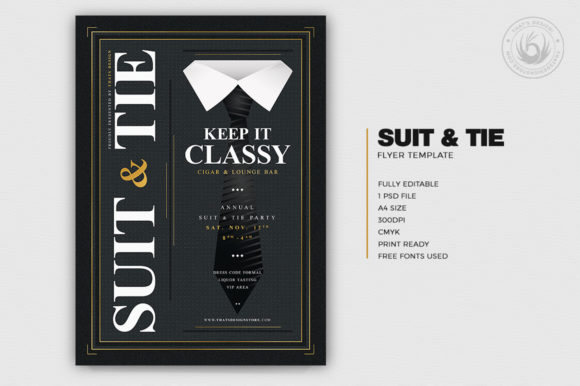 Download Free Suit And Tie Flyer Template V4 Graphic By Thatsdesignstore for Cricut Explore, Silhouette and other cutting machines.