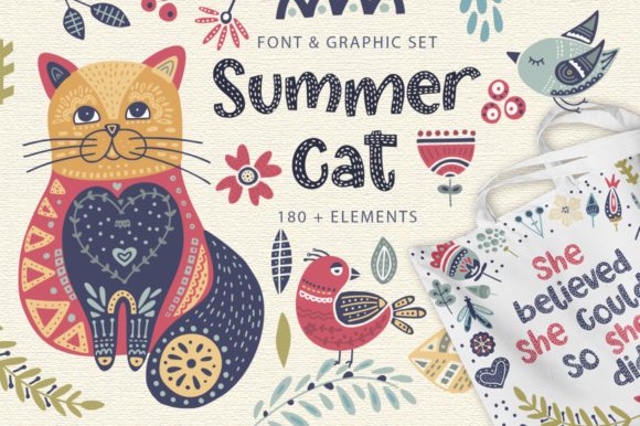 Print on Demand: Summer Cat Display Font By Red Ink - Image 1