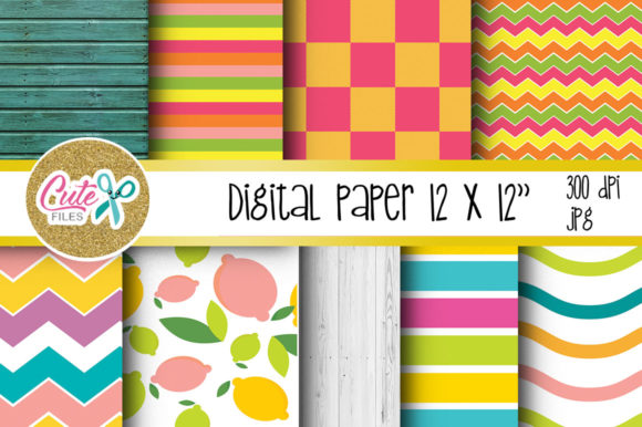 Summer Digital Paper, Colorful Digital Paper Graphic Patterns By Cute files