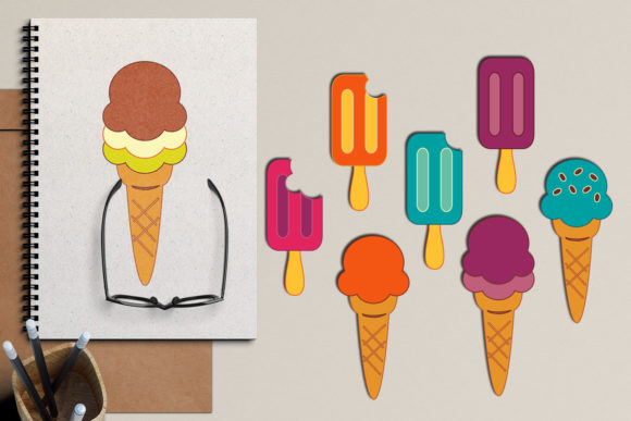 Download Free Summer Ice Cream Graphic By Revidevi Creative Fabrica for Cricut Explore, Silhouette and other cutting machines.