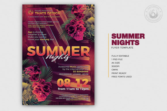 Summer Nights Flyer Template Graphic By ThatsDesignStore Image 2