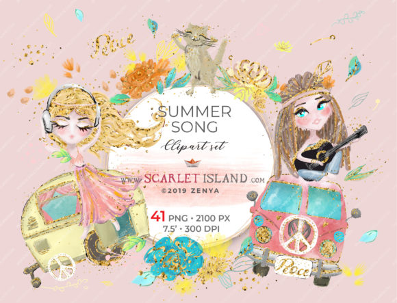 Summer Song Clipart Set Graphic Illustrations By ramandu