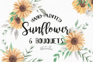 Sunflower Bouquet Watercolor Set Graphic By Bloomella