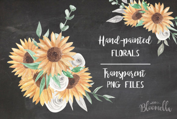 Download Free Sunflower Bouquet Watercolor Set Graphic By Bloomella Creative for Cricut Explore, Silhouette and other cutting machines.