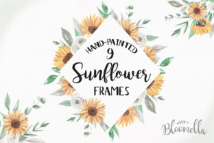 Sunflower Frames Hand Painted Set Graphic By Bloomella