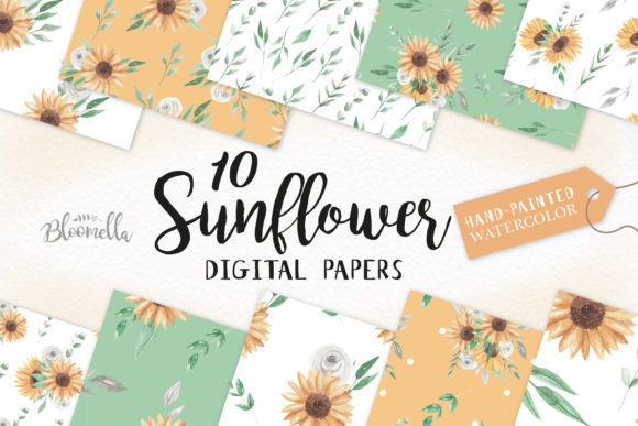 Download Free Sunflower Watercolor Seamless Patterns Graphic By Bloomella for Cricut Explore, Silhouette and other cutting machines.