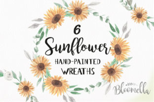Sunflower Watercolor Wreath Set Graphic By Bloomella