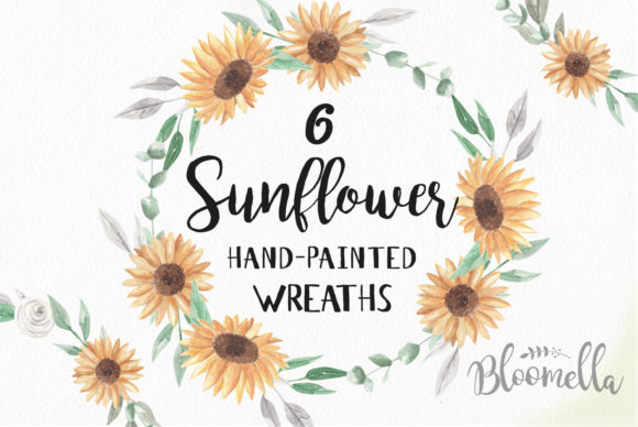 Sunflower Watercolor Wreath Set Graphic Illustrations By Bloomella