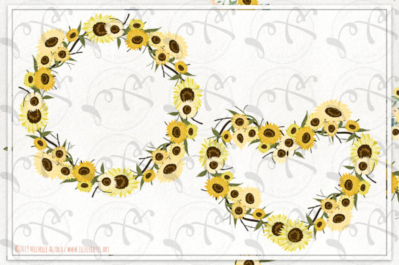 Download Free Sunflowers Floral Wreaths Vector Clipart Graphic By Michelle SVG Cut Files