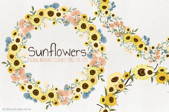 Print on Demand: Sunflowers Floral Wreaths Vector Clipart Graphic Illustrations By Michelle Alzola