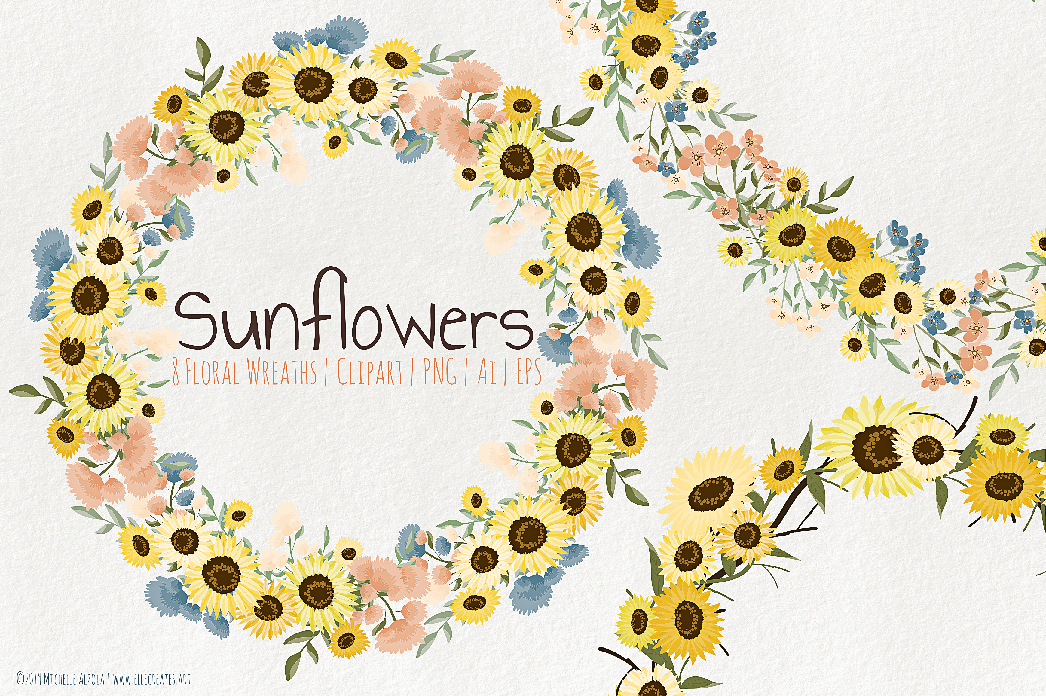 Download Free Sunflowers Floral Wreaths Vector Clipart Graphic By Michelle for Cricut Explore, Silhouette and other cutting machines.