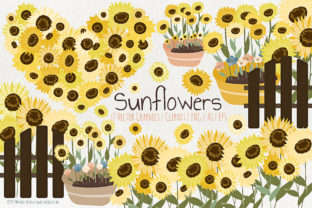 Sunflowers - Flower Vector and Clipart Graphic By Michelle Alzola