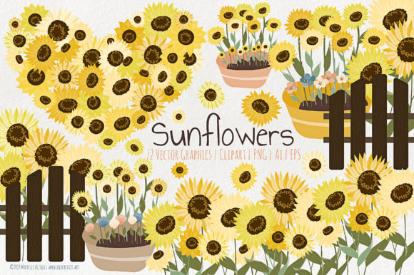 Print on Demand: Sunflowers - Flower Vector and Clipart Graphic Illustrations By Michelle Alzola
