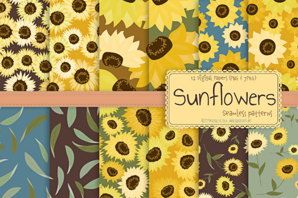 Sunflowers - Seamless Patterns Graphic Download