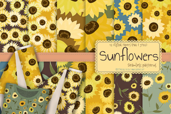 Print on Demand: Sunflowers - Seamless Patterns Graphic Patterns By Michelle Alzola