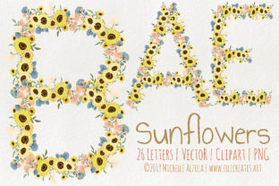 Sunflowers Vector and Clipart Graphic By Michelle Alzola