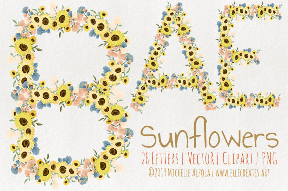 Print on Demand: Sunflowers Vector and Clipart Graphic Illustrations By Michelle Alzola
