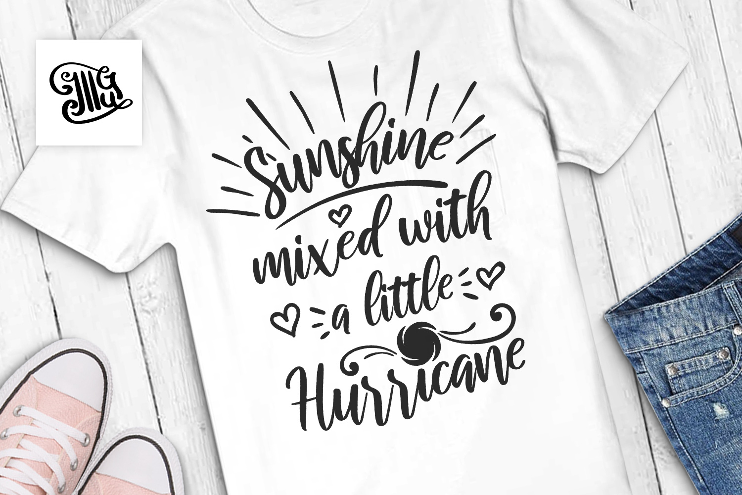 Download Free Sunshine Mixed With A Little Hurricane Graphic By Illustrator for Cricut Explore, Silhouette and other cutting machines.