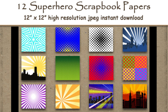 Print on Demand: Superhero Scrapbook Paper Pack Graphic Backgrounds By DigitalPrintableMe