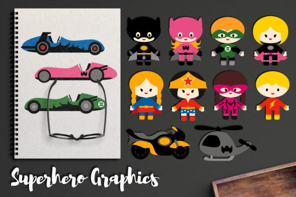 Download Free Superhero And Vehicles Graphic By Revidevi Creative Fabrica for Cricut Explore, Silhouette and other cutting machines.