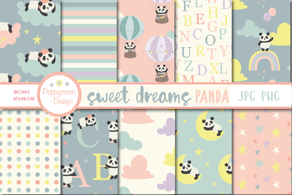 Print on Demand: Sweet Dreams Panda Paper Graphic Patterns By poppymoondesign