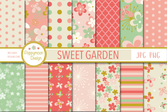 Print on Demand: Sweet Garden Papers Graphic Patterns By poppymoondesign