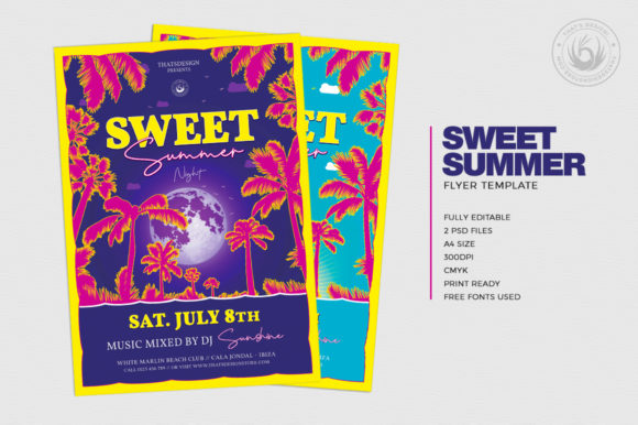 Download Free Sweet Summer Flyer Template Graphic By Thatsdesignstore for Cricut Explore, Silhouette and other cutting machines.