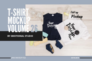 Print on Demand: T-Shirt Mockup Volume 26 Graphic Product Mockups By 3Motional