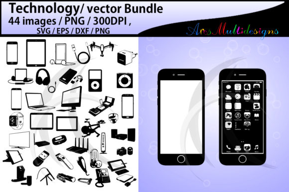 Print on Demand: Technology Silhouette Bundle Vector Graphic Illustrations By Arcs Multidesigns - Image 1