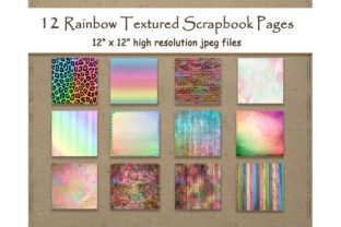 Download Free Textured Rainbow Digital Paper 12 Sheet Graphic By SVG Cut Files