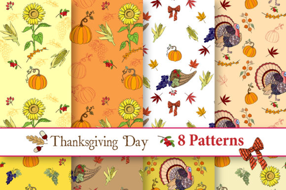 Print on Demand: Thanksgiving Day Patterns Graphic Patterns By natalia.piacheva