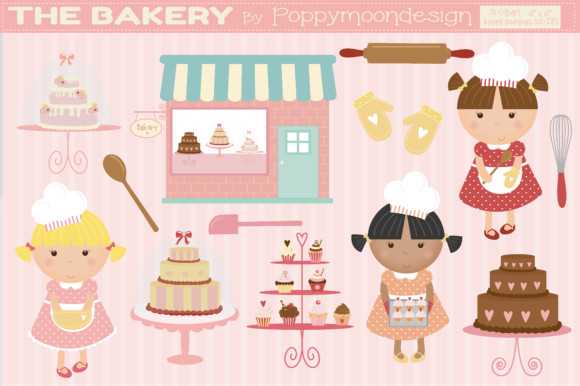 Print on Demand: The Bakery Graphic Illustrations By poppymoondesign