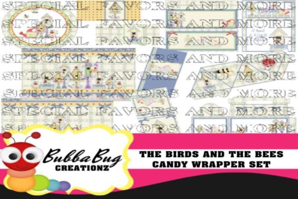 The Birds and the Bees Candy Wrapper Set Graphic Crafts By BUBBABUG