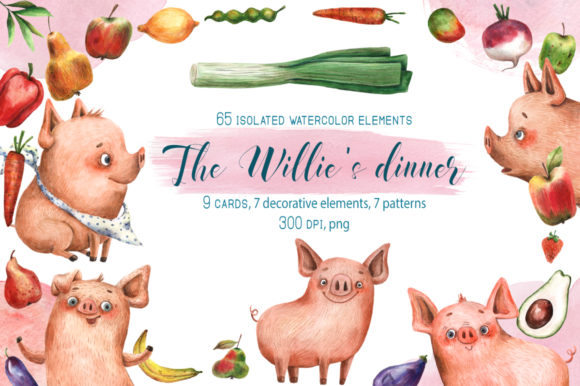 The Willie's Dinner Watercolor Set Graphic Illustrations By mashamashastu