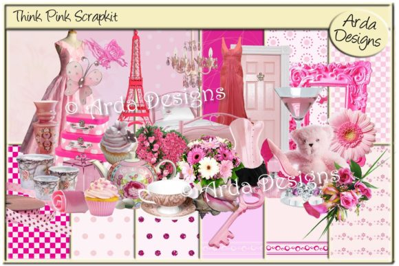 Print on Demand: Think Pink Scrapkit Graphic Illustrations By Arda Designs