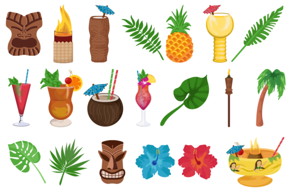 Print on Demand: Tiki Clipart Graphic Illustrations By Mine Eyes Design - Image 2